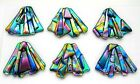 FUNKY set 6 pcs DICHROIC FUSED GLASS pendants E5 CABOCHON for WIRE WRAPPING