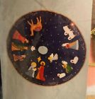 VTG nip BLUE SEQUIN NATIVITY ROUND CHRISTMAS TREE SKIRT holy night
