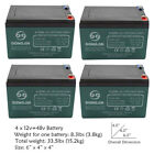 4 Pack of 12V 12Ah 6 DZM 12 Scooter Battery for Electric Razor Dune Buggy Trike