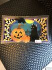 Peggy Karr Signed Halloween Art Glass Cat Pumpkin Tray