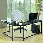 L Shape Computer Desk PC Glass Laptop Table Workstation Corner Home Office
