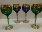 Intricate Flower Gold  Painted Wine GlassesSet of 4 Royal Blue Emerald Green