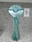 VTG Floral Shape Green Glass Vase 14