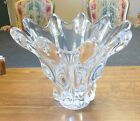 Mid Century Modern Art Vannes France Large 10x12 Crystal Glass Vase Centerpiece