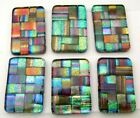 Lot of 6 pcs RECTANGLE DICHROIC FUSED GLASS pendant A5 CABOCHON HAND MADE
