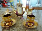 VTG CZECH BOHEMIAN Gold Cranberry Glass Tea Set 2 Cup Saucers Sugar Cream  Pot