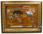 Unique Art 26 Cross Amber Pearl Swirl Ocean Gemstone World map with Frame