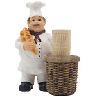 French Chef Pierre Decorative Toothpick Holder Figurine with Faux Wicker Basket