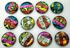 12 pcs CIRCLE DICHROIC FUSED GLASS for pendant G15 CABS MOSAIC TILES KNOBS