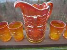 Mosser Carnival Glass Pitcher and 6 matching Tumblers Maple Leaf Pattern MINT