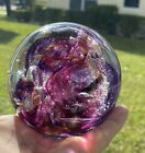 Glass Paperweight Signed C Boux Air Bubbles