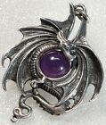Vintage STERLING Silver Winged SERPENT Dragon Purple Glass Ball Pendant