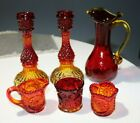 Vintage Amberina Crackle Glass Pitcher Candle Holders etc Art Glass