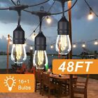 48 96FT LED Outdoor Waterproof Patio Garden String Lights Dimmable Plastic Bulbs