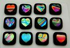 ETCHED HEART Lot 12 pcs DICHROIC FUSED GLASS pendant Y16 CABOCHON HANDMADE