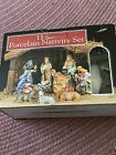 Vintage 1993 Creative Ceramics Porcelain Nativity Set 11 Piece With Creche