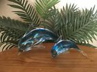 Vintage Set of Two Mother and Baby Murano Art Glass Dolphin Figurines