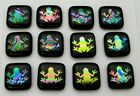 ETCHED FROG Lot 12 pcs DICHROIC FUSED GLASS pendant BH10 CABOCHON HANDMADE