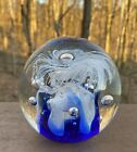 Art Glass Paperweight Blue White Lace Ribbon Controlled Bubbles Large 375