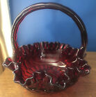 Red Cranberry Fenton Art Glass 8 Tall Ruffled Basket