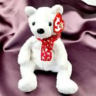 Ty Beanie Baby 2000 HOLIDAY TEDDY White Bear Plush with Red Scarf Retired Tags