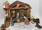 Vintage Holiday Time Nativity Set 12 Pc  Manger Hand Painted Porcelain In Box