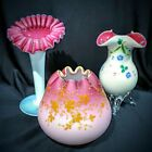 Beautiful lot of 3pcs enameled Victorian pink cased satin cabinet vase glass