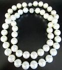 Lot of 2 HUGE  HEAVY Glass Pearl Rhinestone Clasp Necklaces