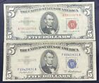 US Paper Currency 5 Dollar Collection 5 Dollar Red Seal  5 Dollar Blue Seal