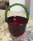 Blenko Etched Art Glass Unique Color Combination Ruby  Green Basket