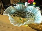 Northwood Canary Vaseline Opalescent Glass Footed Bowl Beaded Drapes Pattern
