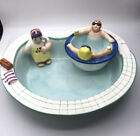 Vtg 1995 LOTUS ceramic novelty Chip  Dip Serving Bowl Hot Tub  Swimming Pool