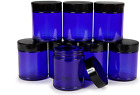 Vivaplex Cobalt Blue 8 Ounce Round Glass Jars With Black Lids 8 Pack