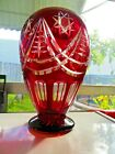 Ruby red clear cut glass display vase beautiful designs and beautiful in light
