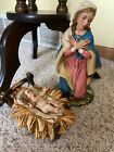 Large 925 Mary  Baby Jesus Nativity Figures 12 Scale Paper Mache Read Desc