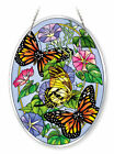 Amia Beveled Glass Large Oval Suncatcher Hand Painted Butterfly 5231 6 1 2 by 9