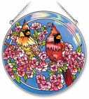 Amia Handpainted Glass Cardinals in The Pink Suncatcher 6 1 2 Inch 5582