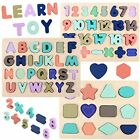 Wooden Puzzles For Toddlers Voamuw Alphabet Number And Shape Kids Ages 2 3 4 5