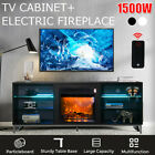 624 427 Wood TV Stand with Electric Fireplace LED Storage Cabinet Console