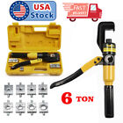 Hydraulic Wire Crimper Crimping Tool Battery Cable Lug Terminal 8 Dies 6 Ton