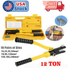 USA 12 Ton 10 Dies Hydraulic Wire Terminal Battery Cable Crimper Tool