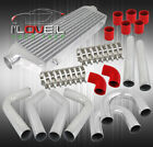 27X7X27 Fmic Turbo Intercooler + 25 Aluminum Piping Kit + Red Silicone Hoses