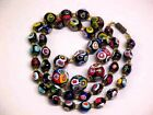 Vtg Murano Italy MILLEFIORI Graduated Art Glass Bead Necklace 24 inch