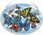 Amia Blue Skies Butterfly Hand Painted Glass Suncatcher 9 Wide 42771