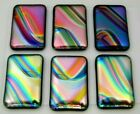 Lot 6 pcs UNCAPPED DICHROIC FUSED GLASS PENDANT MOSAIC R14 CABS HANDMADE
