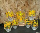 VINTAGE RETRO FLOWER POWER SET GLASS PITCHER with 6 MATCHING JUICE GLASSES