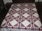 Flying Geese NEW PATCHWORK QUILT TOP 90  90 Purple Red Black Blue 2b