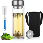 Glass Water Bottle Double Walled Stainless Steel Infuser 600ml 20 Oz