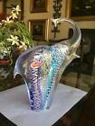 Vintage Murano art Glass 95 Elephant Older Red Label Blue Silver Mica Perfect