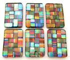 Lot of 6 pcs RECTANGLE DICHROIC FUSED GLASS pendant P18 CABOCHON HAND MADE